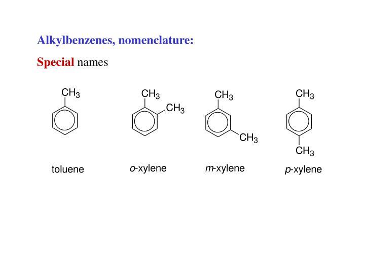 Alkylbenzenes, nomenclature: