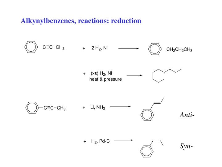 Alkynylbenzenes, reactions: reduction