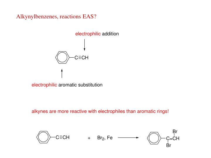 Alkynylbenzenes, reactions