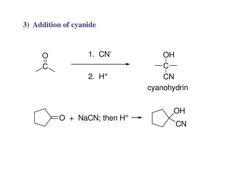 3)  Addition of cyanide