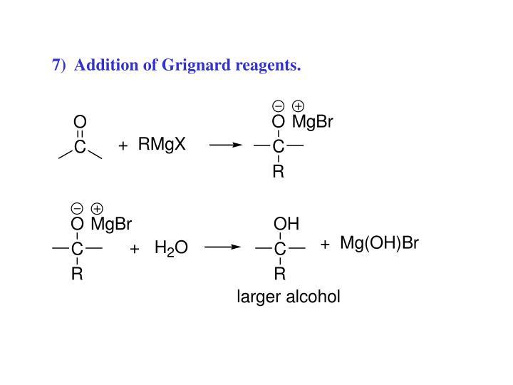 7)  Addition of Grignard reagents.