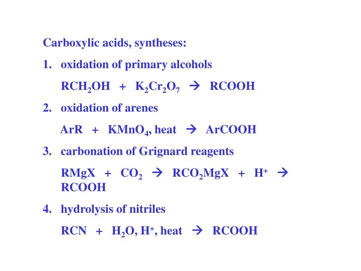 Carboxylic acids, syntheses: