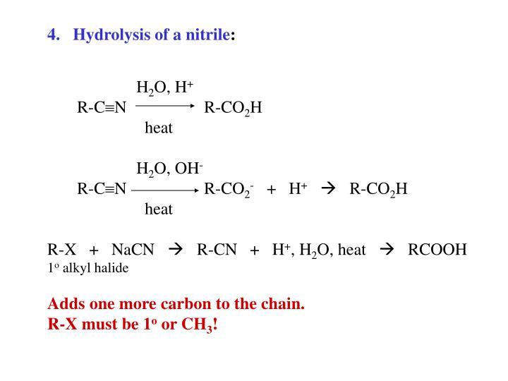 Hydrolysis of a nitrile