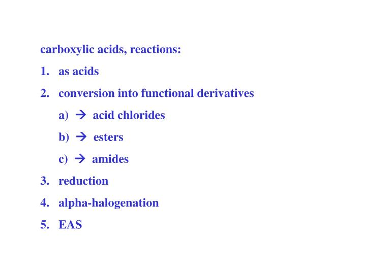 carboxylic acids, reactions: