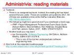 administrivia reading materials