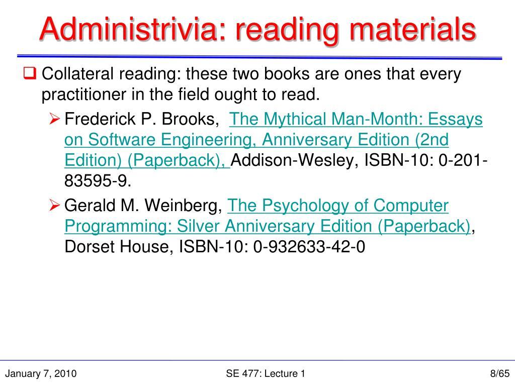 Administrivia: reading materials