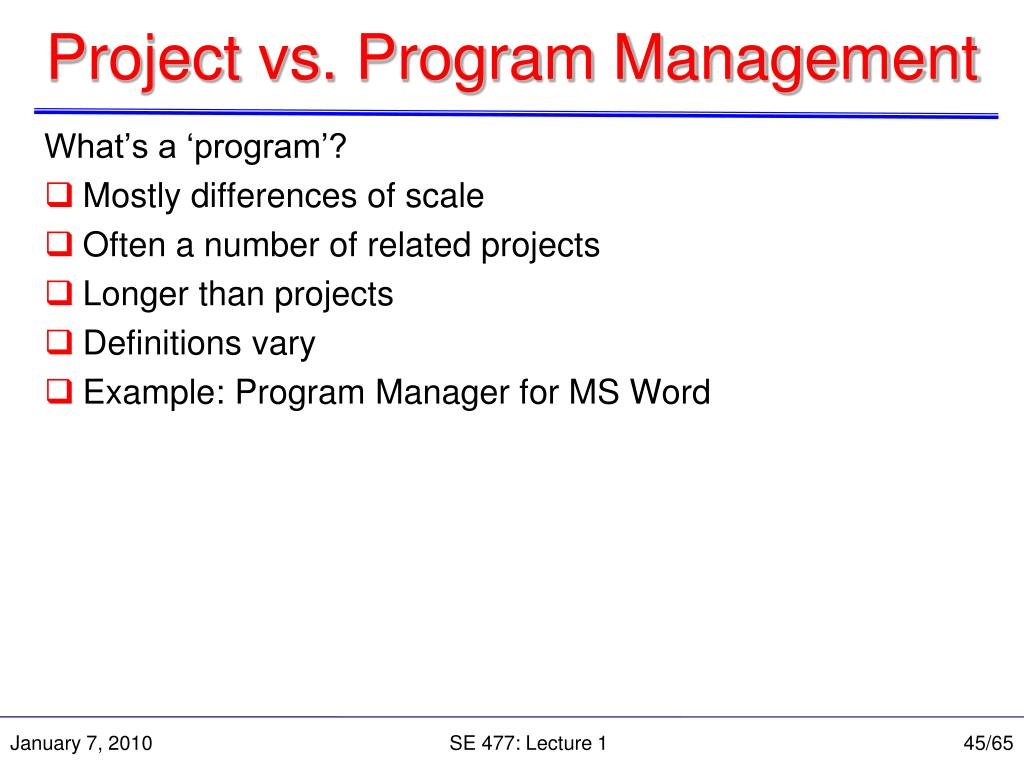 Project vs. Program Management
