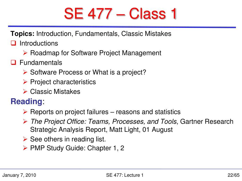 SE 477 – Class 1