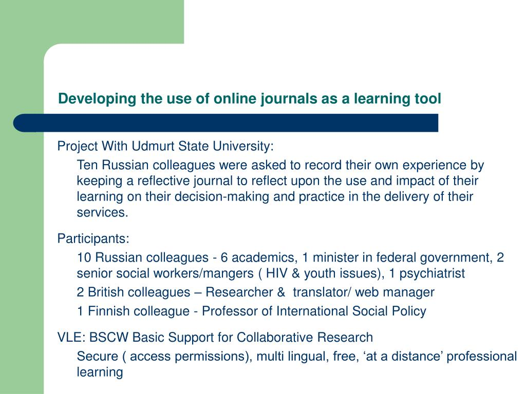 Developing the use of online journals as a learning tool