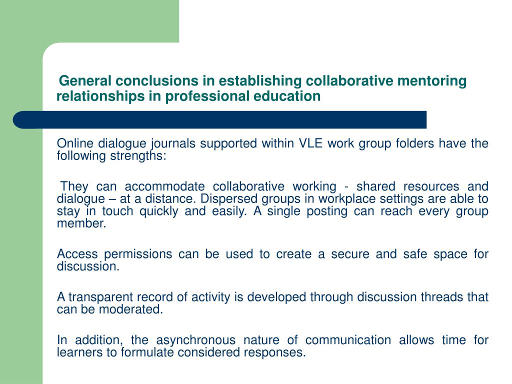General conclusions in establishing collaborative mentoring relationships in professional education