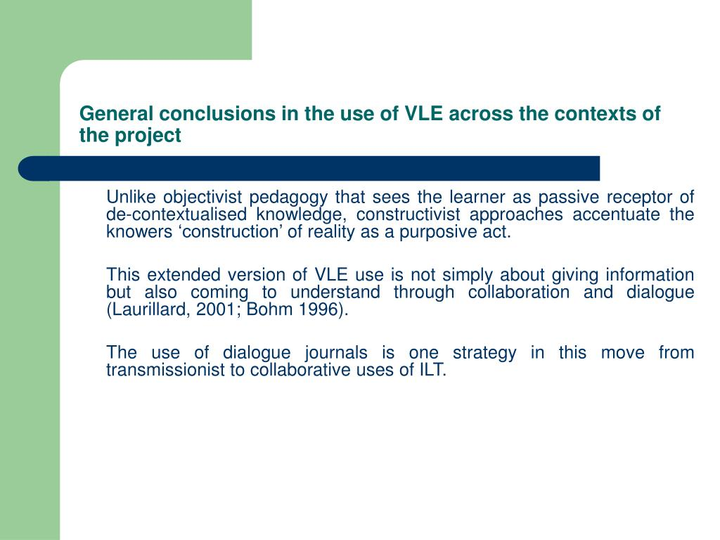 General conclusions in the use of VLE across the contexts of the project