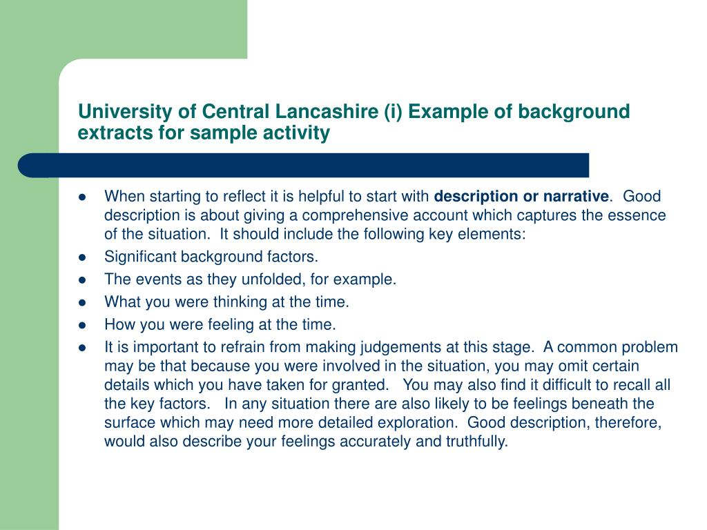 University of Central Lancashire (i) Example of background extracts for sample activity