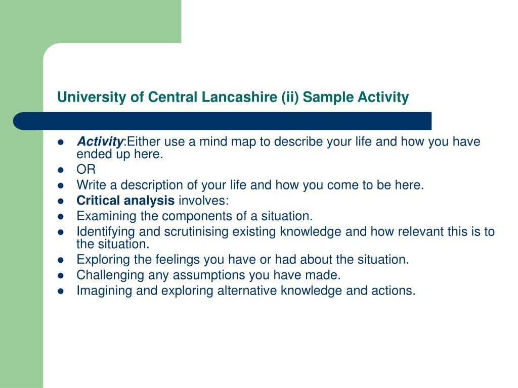 University of Central Lancashire (ii) Sample Activity