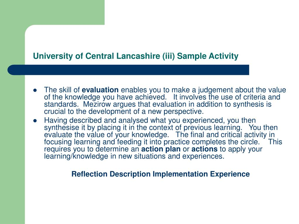 University of Central Lancashire (iii) Sample Activity