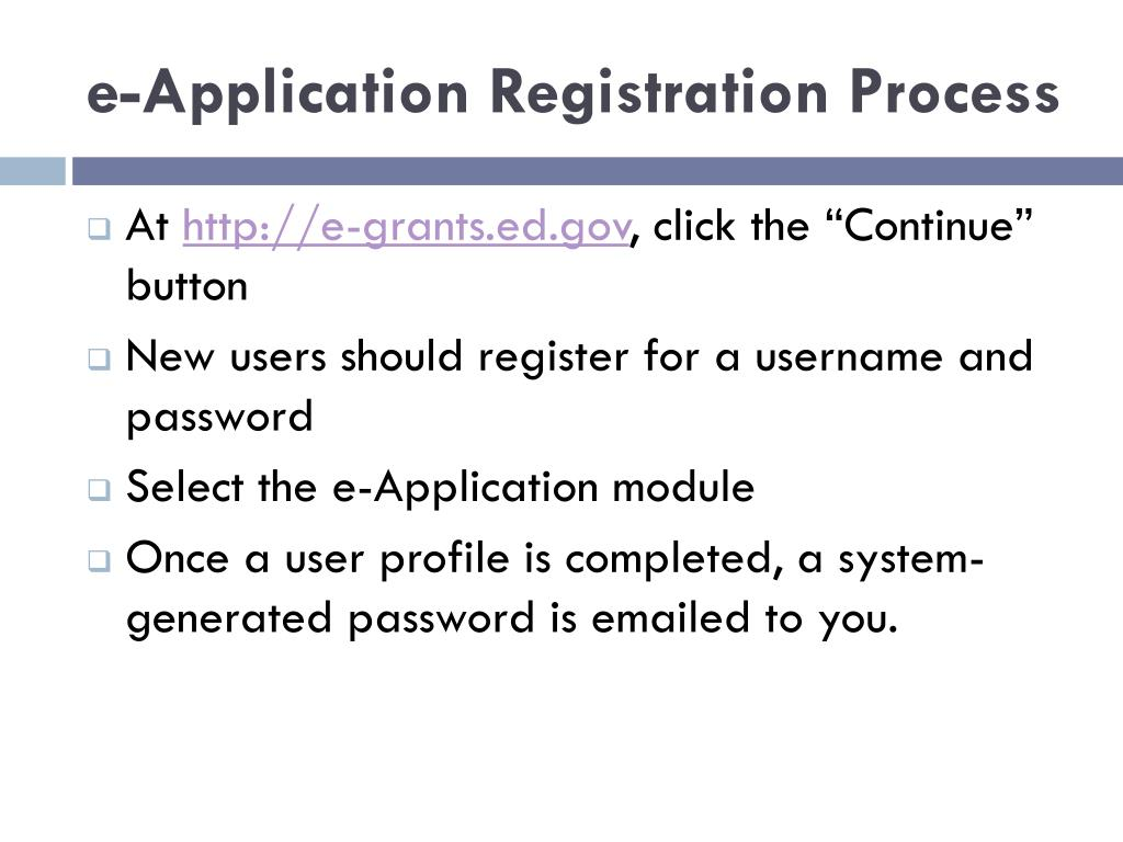 e-Application Registration Process