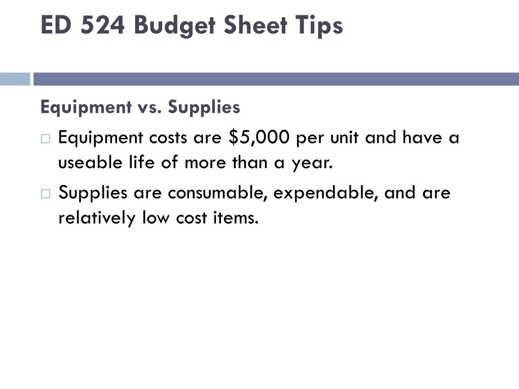 ED 524 Budget Sheet Tips