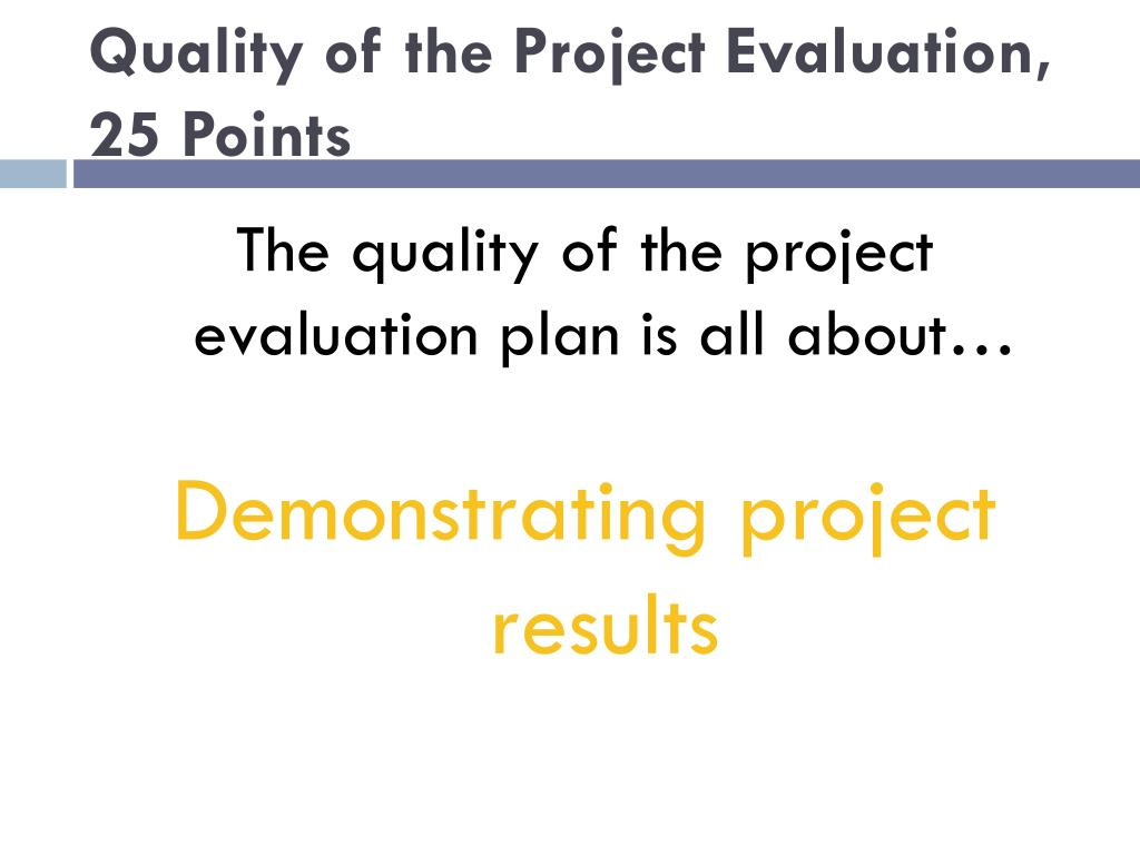 Quality of the Project Evaluation, 25 Points