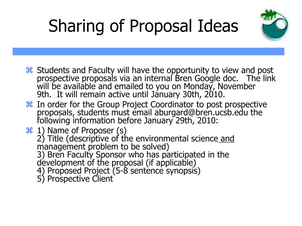 Sharing of Proposal Ideas