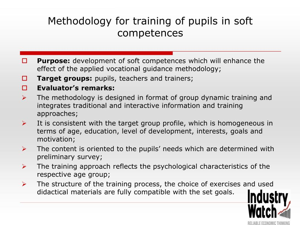 Methodology for training of pupils in soft competences