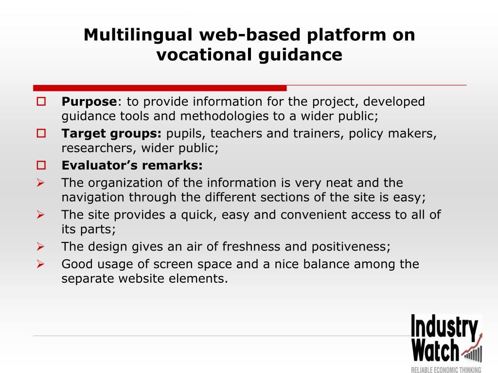 Multilingual web-based platform on vocational guidance