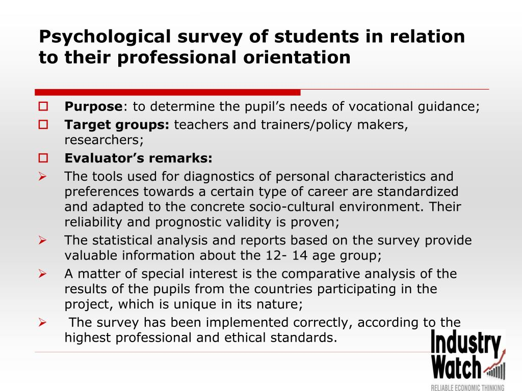 Psychological survey of students in relation to their professional orientation