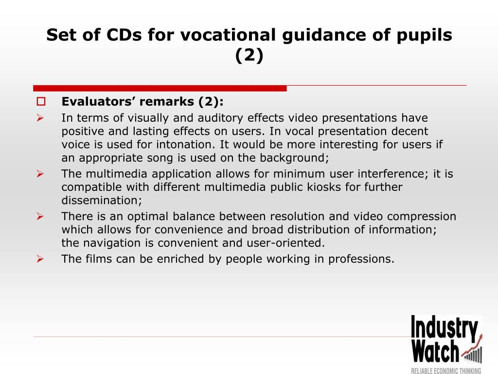 Set of CDs for vocational guidance of pupils