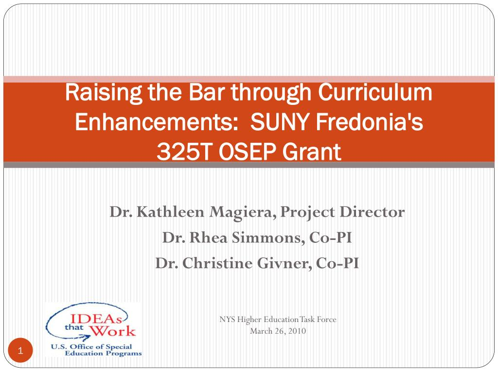 Raising the Bar through Curriculum Enhancements:  SUNY Fredonia's