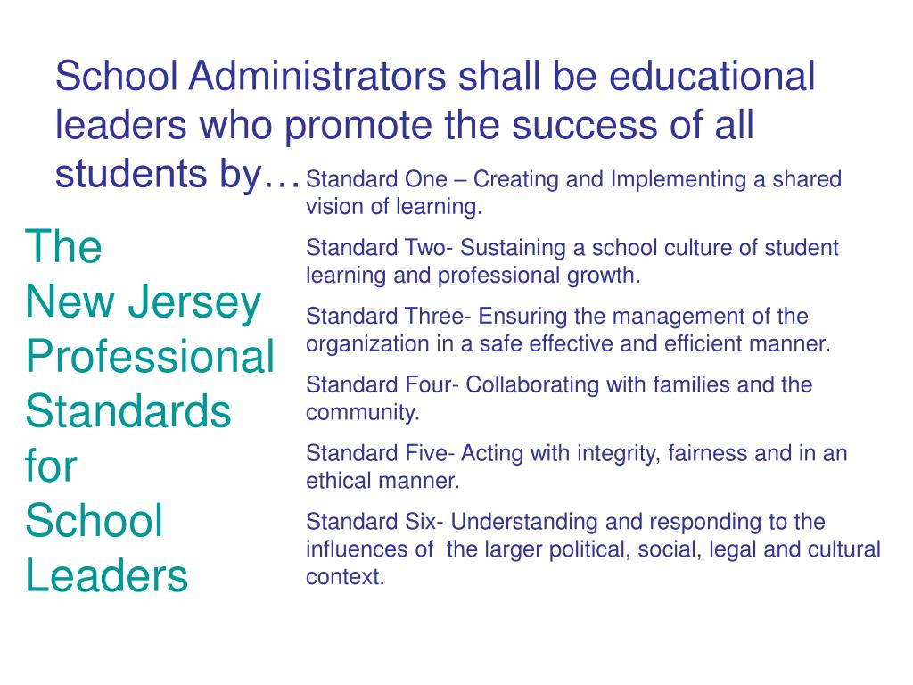 School Administrators shall be educational leaders who promote the success of all students by…