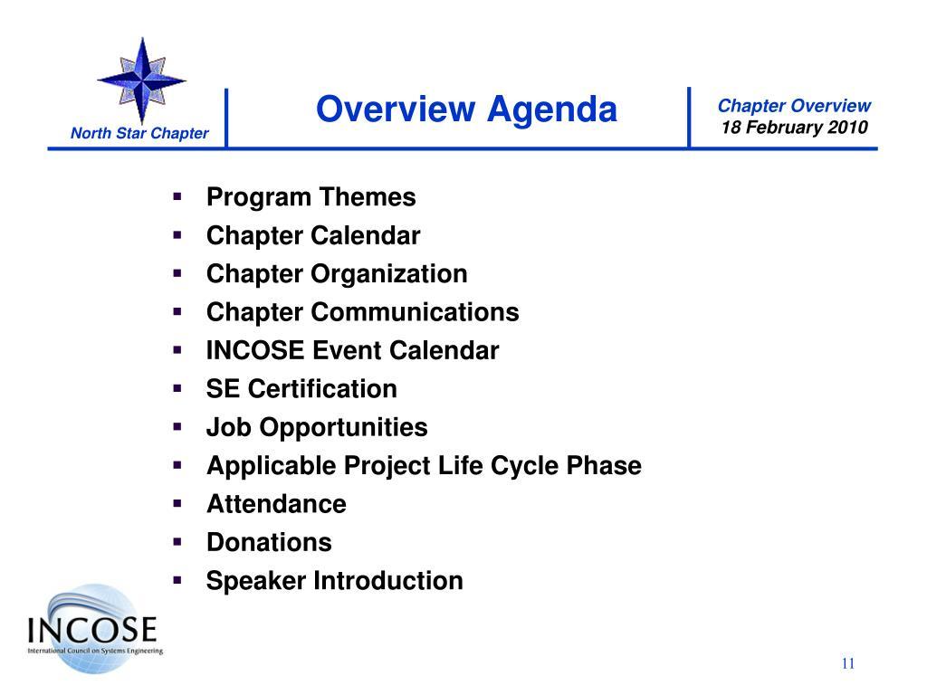 Overview Agenda