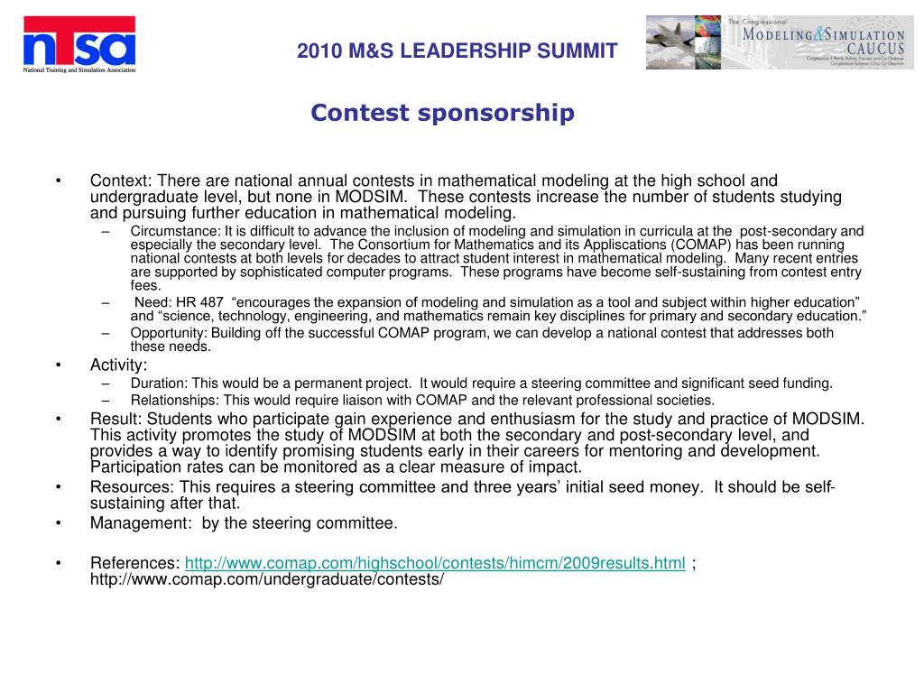 Contest sponsorship