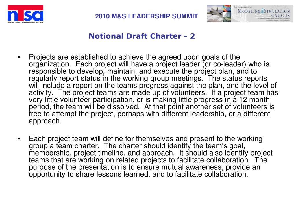 Notional Draft Charter - 2