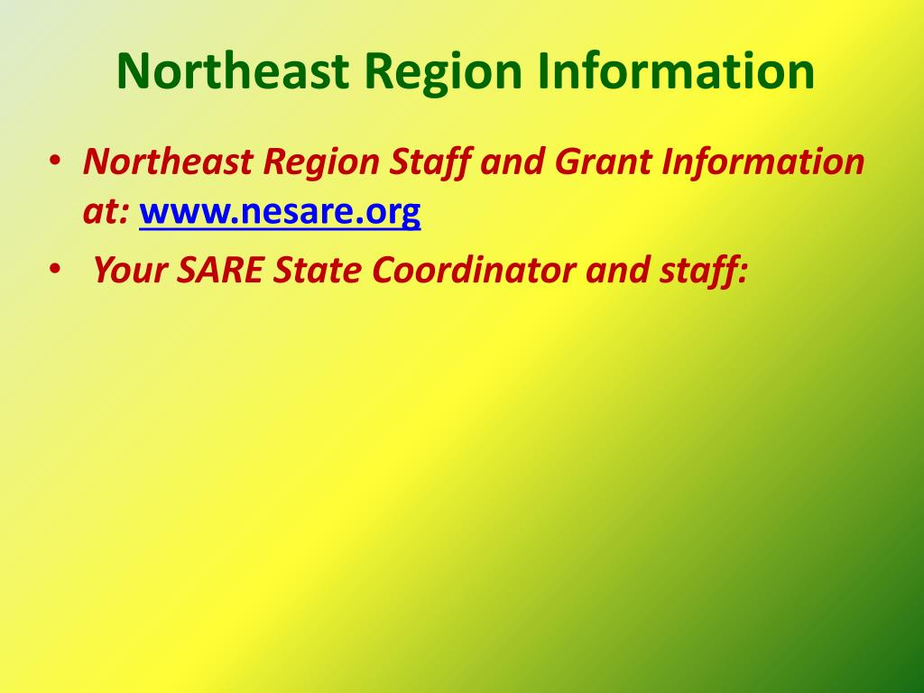 Northeast Region Information