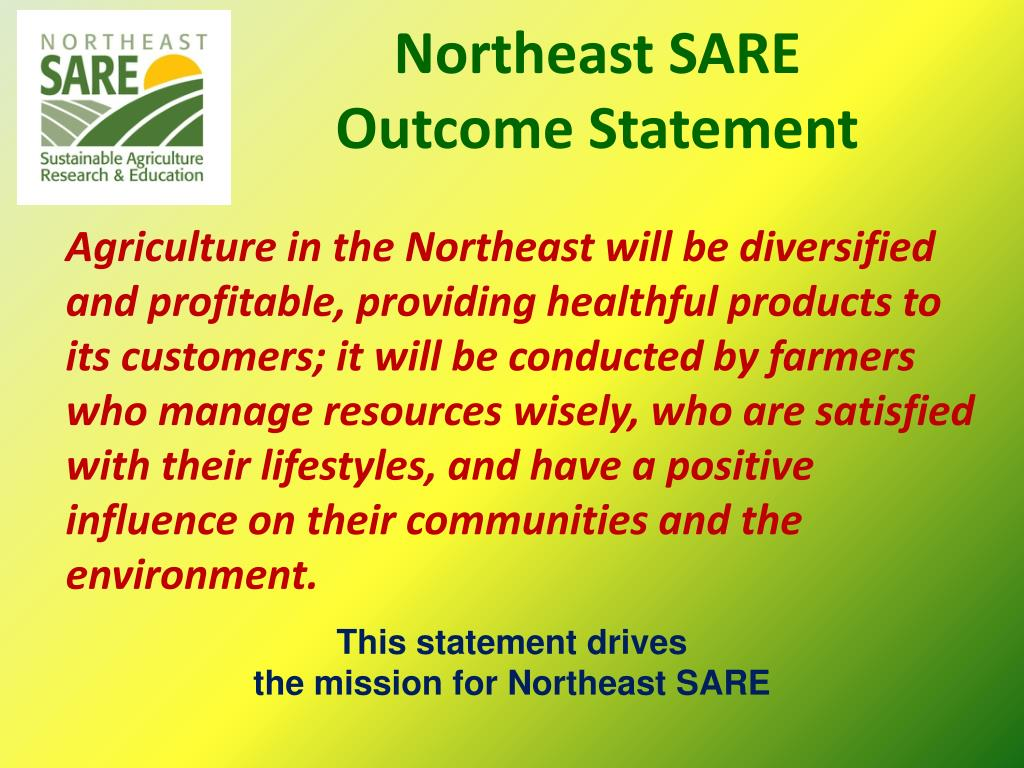 Northeast SARE Outcome Statement