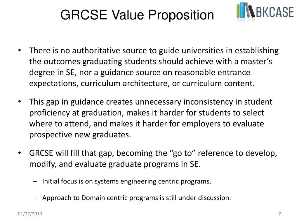 GRCSE Value Proposition