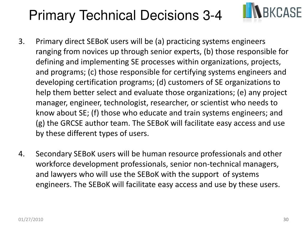 Primary Technical Decisions 3-4