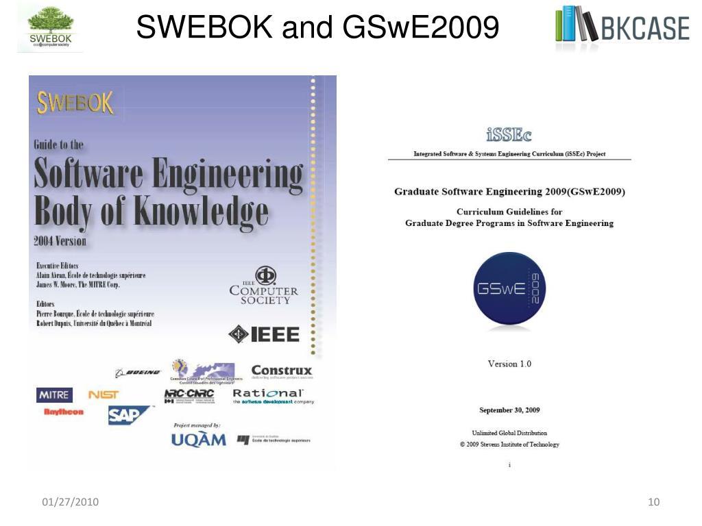 SWEBOK and GSwE2009