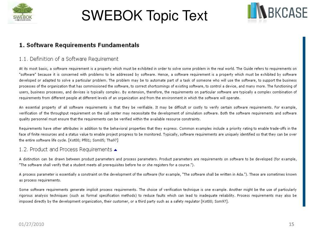 SWEBOK Topic Text