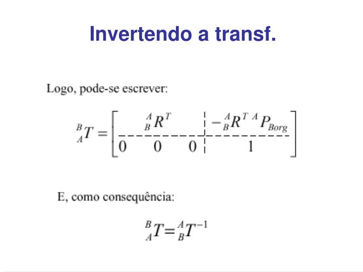 Invertendo a transf.