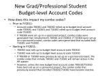 new grad professional student budget level account codes4