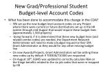 new grad professional student budget level account codes5