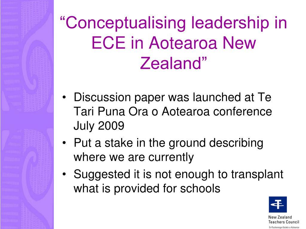 """Conceptualising leadership in ECE in Aotearoa New Zealand"""