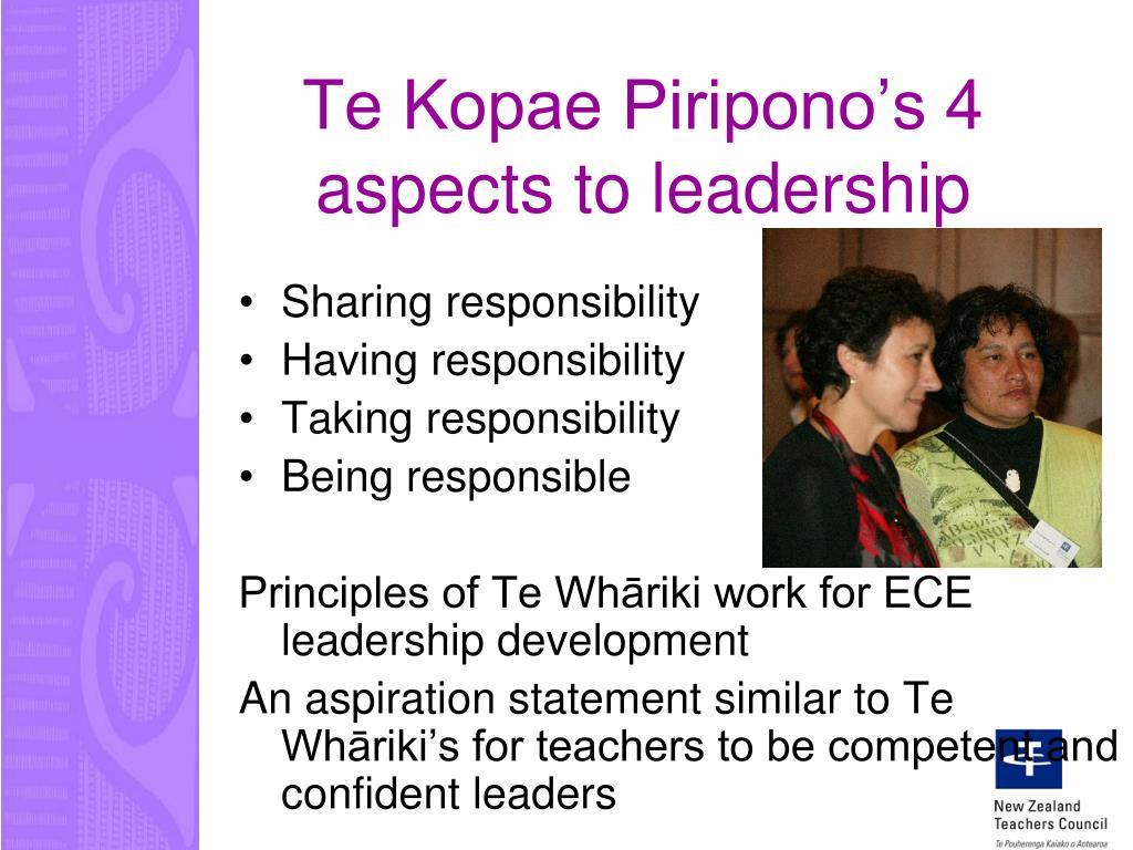 Te Kopae Piripono's 4 aspects to leadership