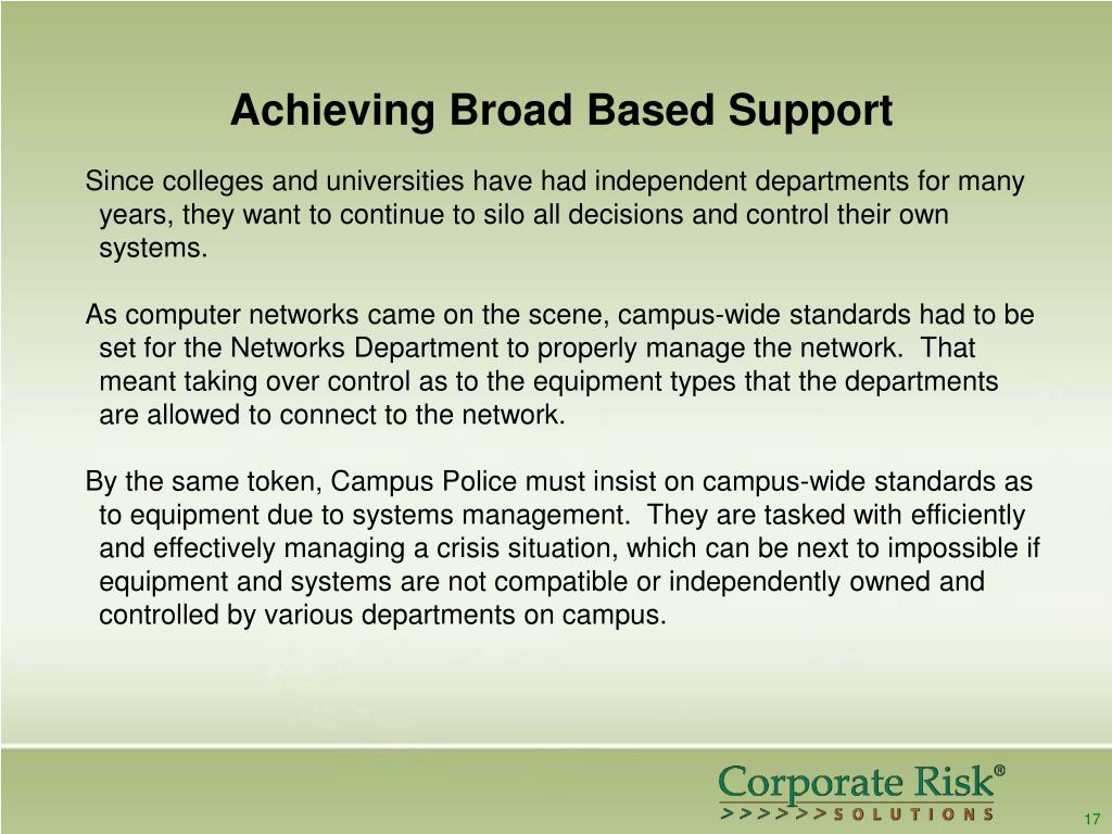 Achieving Broad Based Support