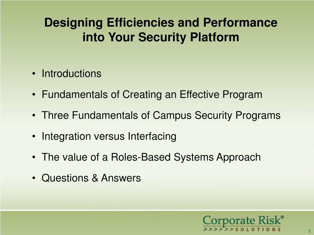 Designing Efficiencies and Performance