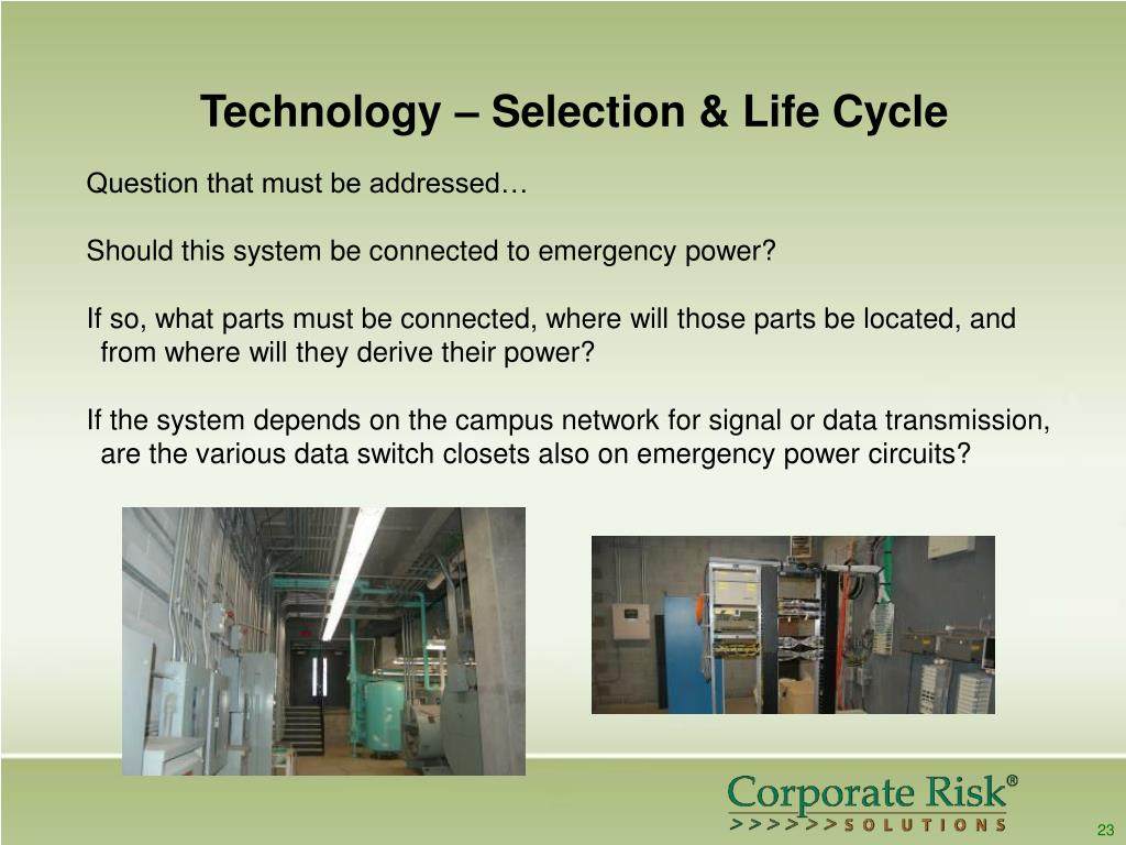 Technology – Selection & Life Cycle