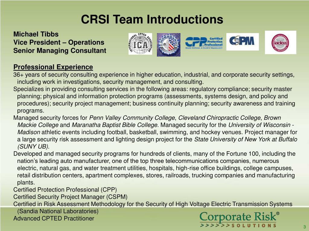 CRSI Team Introductions