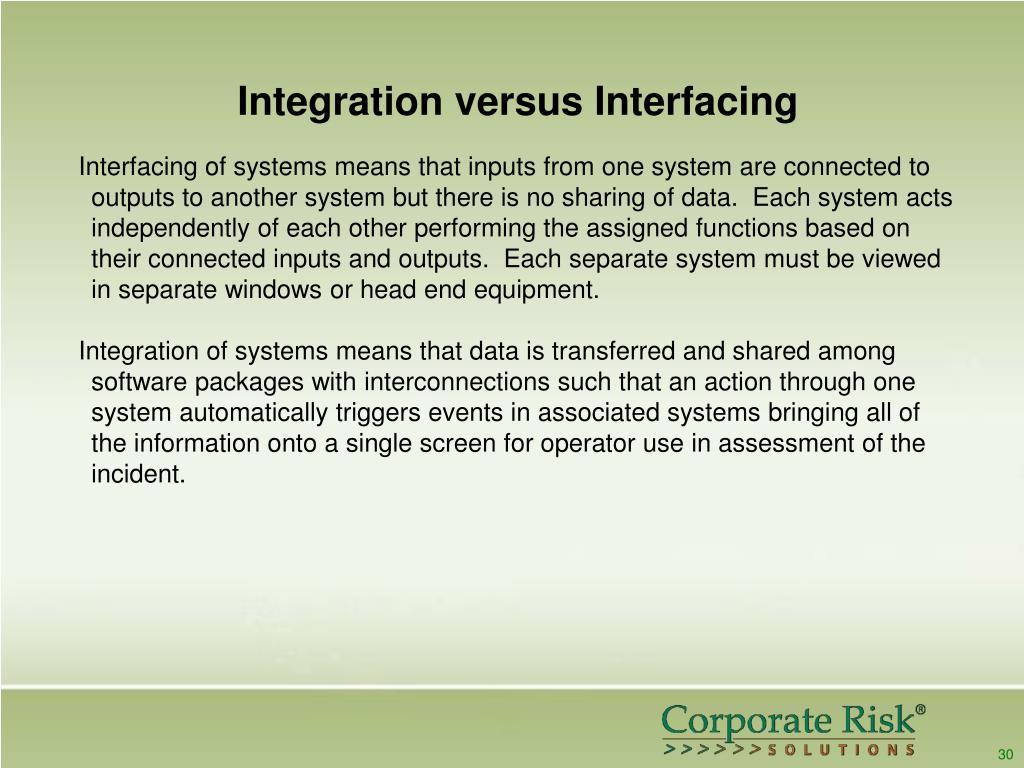 Integration versus Interfacing
