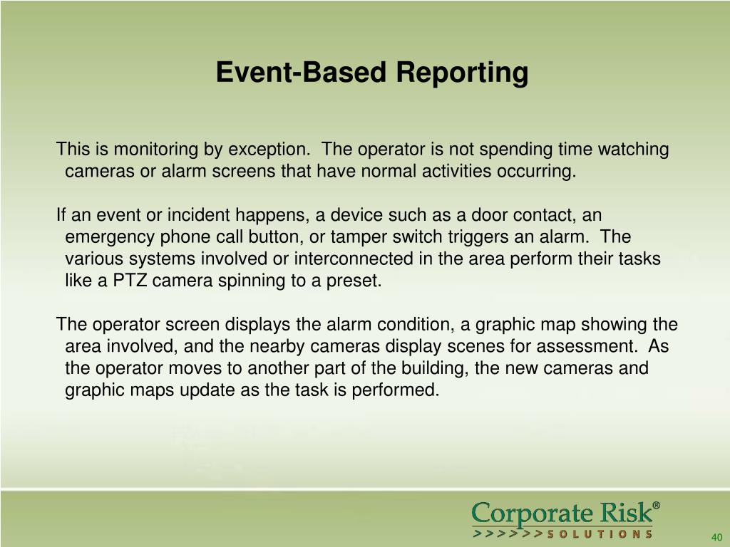 Event-Based Reporting