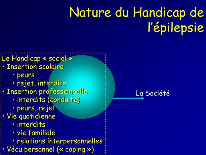 Nature du Handicap de l'épilepsie