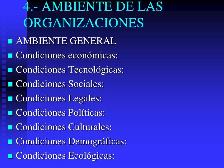 4.- AMBIENTE DE LAS ORGANIZACIONES